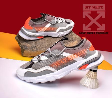 کفش مردانه off whiteمدل bep( طوسی نارنجی)